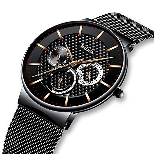 Herrenuhren-Schwarz-Herren-Datum-Kalender-Edelstahlgewebe-Wasserdichte-Uhr-Luxus-Geschft-Casual-Dress-Analog-Quarz-Armbanduhren-fr-Mnner
