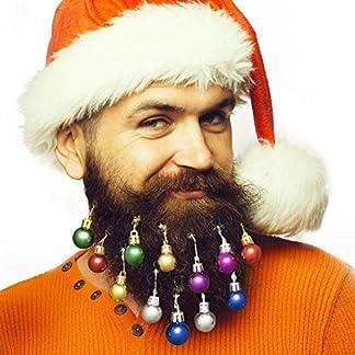 ANJOU-Bunte-Kugeln-12pcs-Schmuck-Geschenk-Weihnachten-Fest-Movember-Kostm-fr-Bart-Haar-Haustier-6-helle-Farben-Rot-Grn-Blau-Lila-Gold-und-Silber
