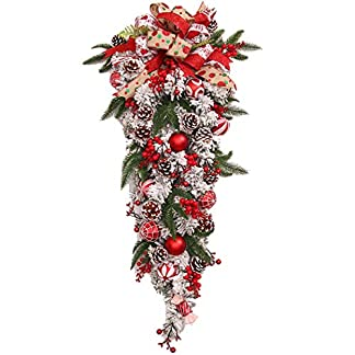 FunPa-Weihnachten-Swag-Kreative-Knstliche-Schne-Teardrop-Dekoration-Tr-Swag-fr-Kinder-DIY-Weihnachten-Home-Office-Esstisch-Party-Kranz-Dekoration