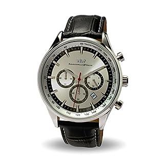 Rhodenwald-Shne-Eastwood-Herren-Uhr-Chronograph-Edelstahl-Silber-mit-Lederarmband-schwarz-5-ATM-Totalisator-Tachymeter-Flieger-uhr-Optik