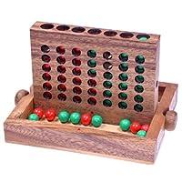 Vier-in-einer-Reihe-Gr-L-Viererreihe-Bingo-4-Strategiespiel-Denkspiel-aus-Holz-mit-farbigen-Kugeln