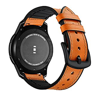 Aottom-Fr-Samsung-Gear-S3-ArmbandUhrenarmband-Gear-S3-Frontier-Echtes-Leder-et-Silikon-Lederarmband-Ersatzband-Samsung-Gear-S3-Classic-Sportarmband-Straps-fr-SM-R760-Herren-et-Damen