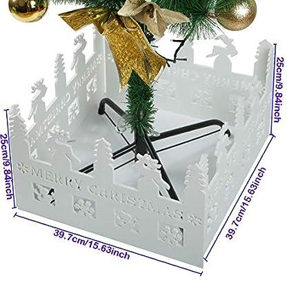 Shallylu-2-Sets-Weihnachtsbaum-Zaun-weier-Kunststoff-dekorativer-Weihnachtsbaum-Gartenzaun-faltbar-fr-Weihnachten-Baum-Haus-Garten-Bro-Dekoration-8-Stck