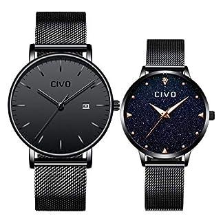 CIVO-Paar-Uhren-Mnner-Frauen-Schwarz-Ultra-Dnn-Einfach-Wasserdicht-Armbanduhren-Lssige-Mode-Edelstahl-Mesh-Quarz-Uhr-fr-Sie-und-Ihn