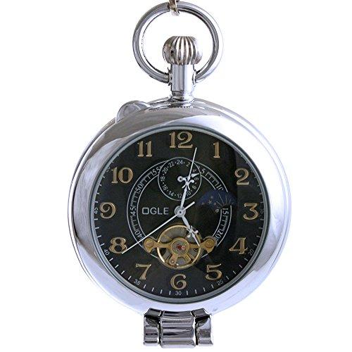 Ogle-Wasserdicht-Silber-Lupe-Tourbillon-Phasen-Mond-Kette-Fob-Self-Winding-automatische-Skelett-Hlfte-Jger-Mechanische-Taschenuhr