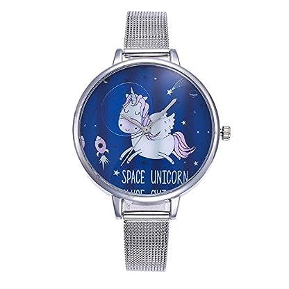MJARTORIA-Damen-Einhorn-Armbanduhr-Analoge-Edelstahl-Mesh-Armband-Mdchen-Quarz-Uhr-Silber-Farbe