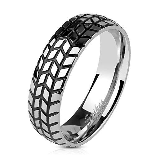 Tapsi´s Coolbodyart® Fingerring in Reifen-Optik Edelstahl silber-schwarz, Ringgröße : 9/10/11/12/13