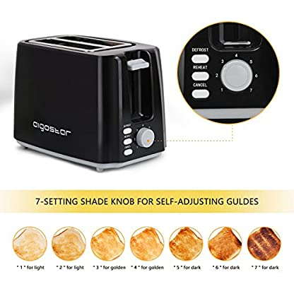 Aigostar-Warrior-30JRL-2-Scheiben-Toaster-7-Toast-Brunung-Einstellung-Auftauen-Aufwrmen-und-Abbrechen-Funktionen-750W-Schwarz-BPA-frei-Exklusives-Design