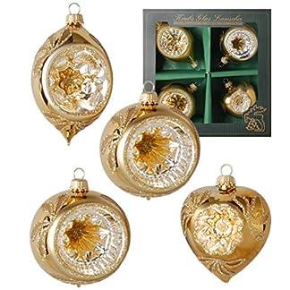 Krebs-Glas-Lauscha-Reflexsortiment-in-Gold-2-Kugel-Herz-Olivenform-Christbaumschmuck-Weihnachtsbaumschmuck-Gre-9cm