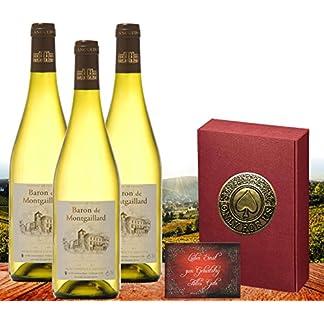 Only-for-us-3er-Set-Weisswein-Geschenk-fr-Partner-Freunde-und-Liebende-Edel-Weisswein-Cuve-aus-dem-franzsischen-Languendoc-Luxus-Vintage-Weisswein-mit-Goldemblem-3er-Set-Frankreich-Sauvignon-50-Roussa