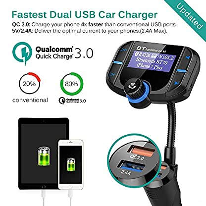 CHGeek-Bluetooth-FM-Transmitter-5V24A-Quick-Charger-30-KFZ-Auto-Wireless-mp3-Player-Audio-Radio-Adapter-freisprecheinrichtung-mit-2-USB-Ladegert-17-Zoll-LED-Anzeige-fr-iOS-und-Android-Gerte