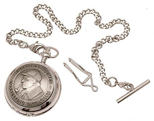 Massives-Zinn-am-Sherlock-Holmes-Design-40-perlmutt-Quarz-Taschenuhr