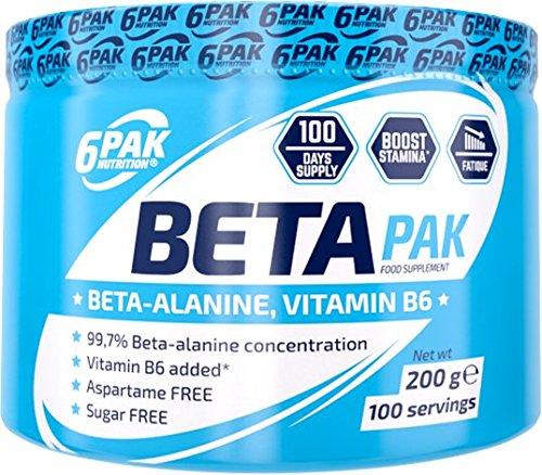 6Pak Nutrition BETA PAK (Beta-Alanin) Natural, 1er Pack (1 x 200 g)