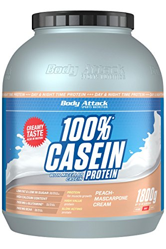 Body Attack 100% Casein Protein, Peach Mascarpone, 1800 g