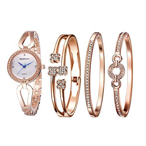 Godagoda-Damen-Armbanduhr-Glitzer-Klassisch-Edelstahl-Armband-Creative-Strass-Deko-Wasserdicht-Frau-Quarzuhr-4PC