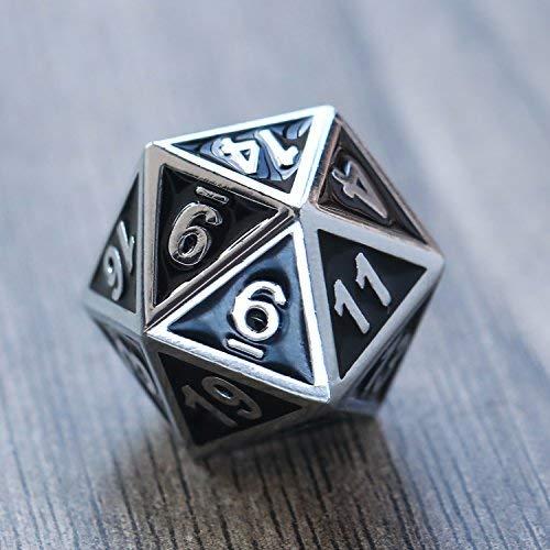Lvcky-Zink-Legierung-glnzend-Silber-mit-Emaille-Schwarz-Metall-Polyhedral-7-die-Wrfel-Set-Metall-Rolle-Spielen-Spiel-Wrfel-Set-fr-D-und-D-RPG-Wrfel-Gaming-D-D-Mathematische-Teaching