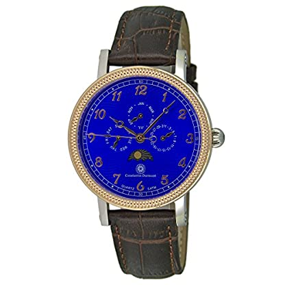 Constantin-Durmont-Herren-Analog-Quarz-Uhr-mit-Leder-Armband-CD-SANJ-QZ-LT-STRG-BL