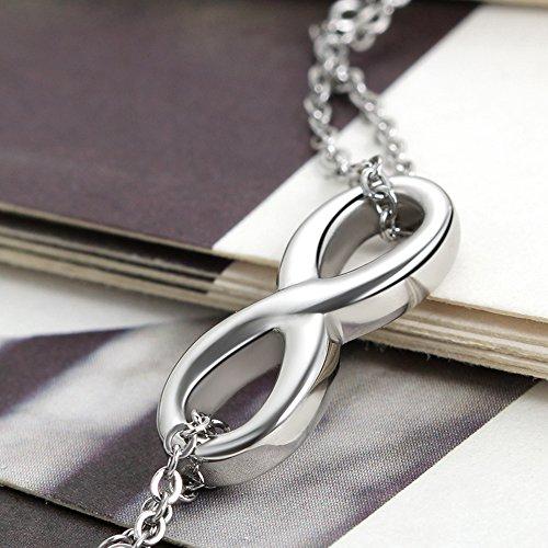 Flongo Armband Fußkettchen, 2 Stück Edelstahl Armband Fußkette Armkette Armkettchen Armreif Silber Infinity Unendlichkeit Zeichen Symbol Freundschaftsketten Lieben Charm Elegant Damen