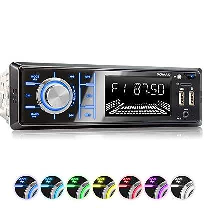 XOMAX-XM-R268-Autoradio-mit-Bluetooth-Freisprecheinrichtung-I-Handy-Aufladen-ber-2-USB-Anschluss-I-RDS-Radio-Tuner-FM-I-7-Beleuchtungsfarben-I-2X-USB-SD-AUX-I-1-DIN