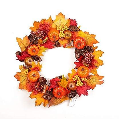 Asdomo-Kranz-fr-Vordertr-457-cm-Krbisbeeren-Tannenzapfen-Laub-Ernte-Herbstfarben-Girlande-fr-den-Innen-und-Auenbereich-Fenster-Zuhause-Party-Halloween-Weihnachten-Erntedankfest