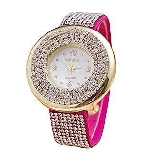 Godagoda-Damen-Armbanduhr-Leder-Deko-Glitzer-Wasserdicht-Quarzuhr-Geschenke-24cm