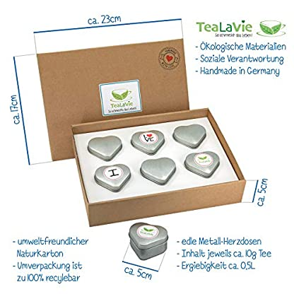 TeaLaVie-6er-Tee-Geschenke-Set-Rooibos-Tee-lose-edle-Herz-Teedose-fr-Teeliebhaber-ideal-fr-Dankeschn-Geschenke-60g-loser-Rotbusch-Tee-Mischung-Mix