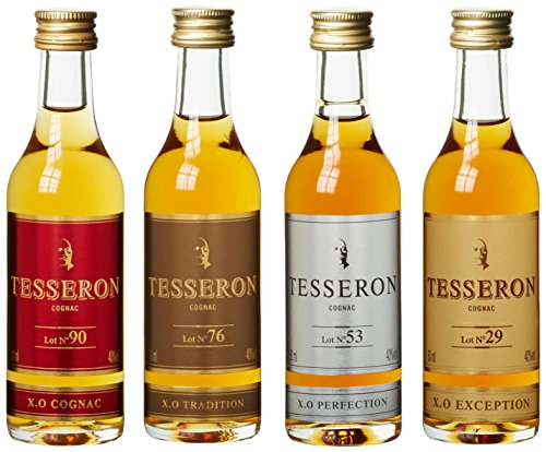 Tesseron-XO-Collection-Miniset-Lot-Nr-90765329-mit-Geschenkverpackung-Cognac-4-x-005-l