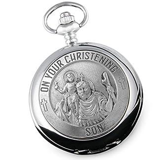 Son-s-Christening-ST-Christopher-Zinn-Funktion-Taschenuhr-Geschenk-von-Eltern