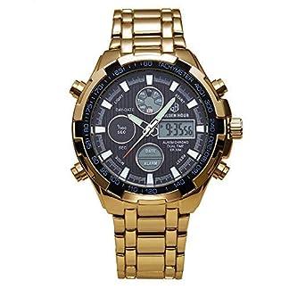 Herren-Uhren-Edelstahl-Sport-Chronograph-Datum-Alarm-Schwere-Luxus-Digitale-Armbanduhr