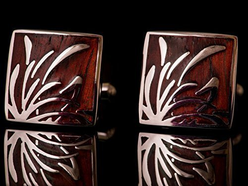 STEINK® Luxuriöse Herren Manschettenknöpfe Padauk Edelholz | Holz & Edelstahl | Touch Paper Aufbewahrungsbox – Business, Hochzeit, Geschenk, Vintage Style, Retro, Holzoptik