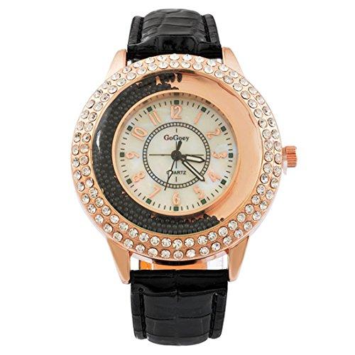 MJartoria-Damen-Armbanduhr-Quarz-Uhr-Modeschmuck-PU-Lederarmband-Mode-Design-mit-Strass-Schwarz