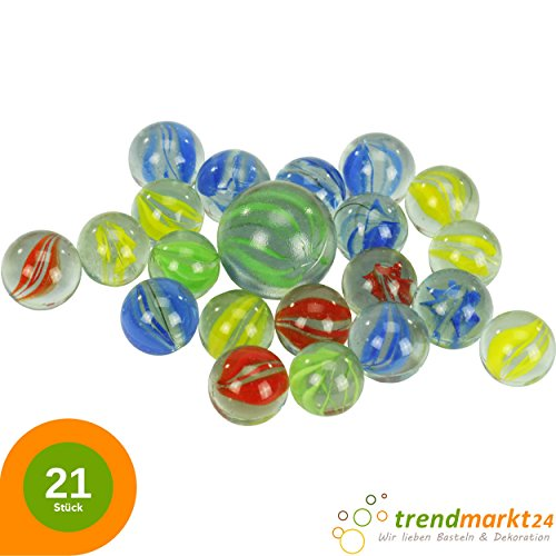 trendmarkt24-21-Murmeln-Farbig—ca-20-x-16-mm-1-x-25-mm–Verschiedene-Farben–Glasmurmeln-Set-fr-Murmelbahn-Kinder-Spiel–Glas-Murmel-Normal-in-Bunt–Mrbeln-Mrbel-63927-A