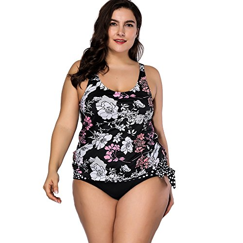 FeelinGirl Bikini Tankini Bademode Badeanzug Monokini Retro Groß Größe Bikini Sets Plus Size Bandeau High Waist Bikini Damen Bauchweg