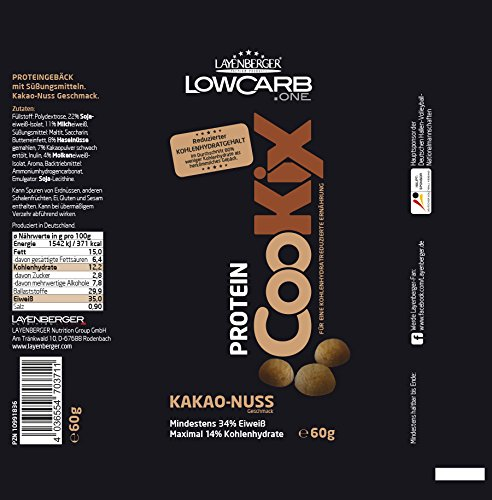 Layenberger LowCarb.one Protein CooKix Kakao-Nuss, 10er Pack (10 x 60 g)