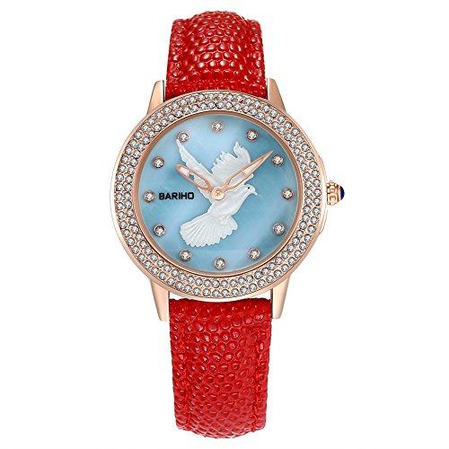 iLove-EU-Damen-Armbanduhr-Uhr-Analog-Quarz-Weie-Taube-Elegant-30M-Wasserdicht-Leder-Band-Farben-Rot-Wei-Blau