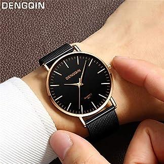 Lazzgirl-DENGQIN-Herrenuhr-801-Mesh-BeltSchwarz-Silber