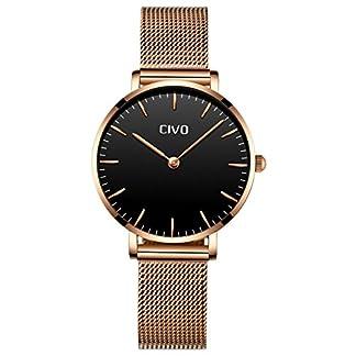 CIVO-Damen-Uhren-Ultra-Dnn-Silm-Minimalistisch-Damenuhr-Wasserdicht-Kleid-Armbanduhren-Beilufig-Edelstahl-Mesh-Quarzuhr-fr-Frau-Lady-Teenager-Mdchen-GoldSchwarz