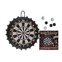 EuroDiscount-Trinkspiel-Partyspiel-magnetische-Dartscheibe-XL-mit-8-Kronkorken–41-cm-1-Stck