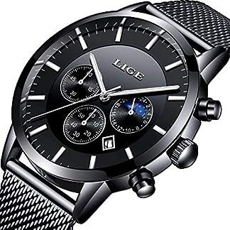 LIGE-Herren-Armbanduhr-wasserdicht-Militr-Stil-Edelstahl-Mesh-Armband-minimalistisch-einfach-analog-Quarz-schwarzes-Zifferblatt-mit-Datumsanzeige-Business-Armbanduhr-fr-Herren