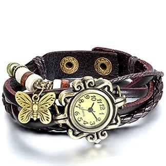 JewelryWe-Damen-Armbanduhr-Retro-geflochten-Leder-Armband-Armreif-Armkette-Uhr-mit-Schmetterling-Anhnger-Braun-Bronze