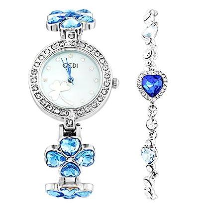 Souarts-Damen-Geschenkset-Armbanduhr-Quartzuhr-Analog-mit-Batterie-mit-Strass-Armband