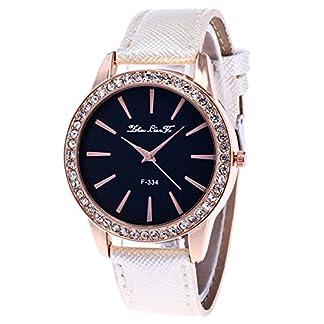 Souarts-Damen-Armbanduhr-Einfach-Stil-Analoge-Quary-Uhr-mit-Batterie-Wei