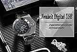 Geschenk-Vatertag-Mnner-Lancardo-Neuheit-Digital-USB-Zigarettenanznder-Herren-Uhren-mit-3-Zifferbltter-zur-Winddicht-Flame-Feuerzeug-schwarz