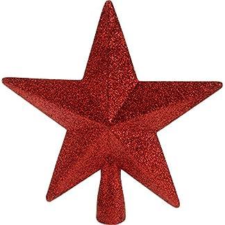 Unbekannt-Baumspitze-Stern-Baumschmuck-Christbaumspitze-Weihnachtsstern-Weihnachtsbaumstern-Weihnachtsbaumspitze-Kunststoff-5-Zacken-Baum-Spitze-Glitzerpailetten19-cm-3D-rot