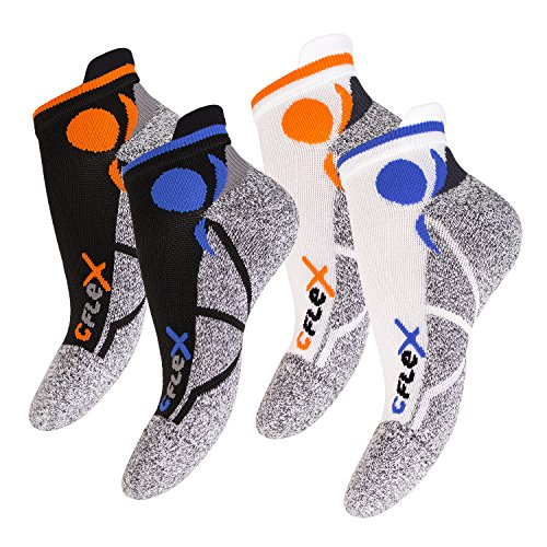 4 Paar Original CFLEX Running Sneaker Socks für Sie und Ihn – stoßabfedernd, schützend, unterstützend und klimatisiert – Größen 35-46 wählbar – Top Qualität von celodoro