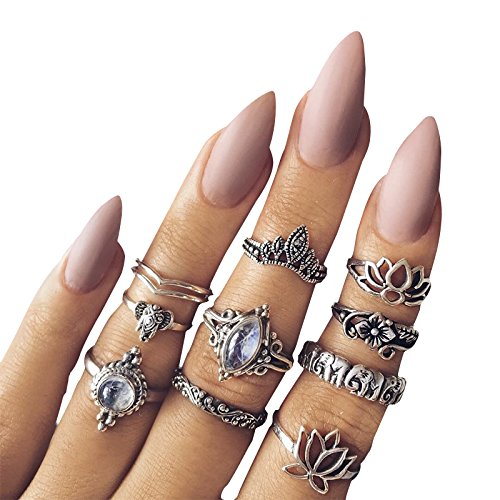 Orientalisches Vintage Fashion Midi Ringe Fingerring-Set für Damen Mädchen, 10PCS Retro Midiringe Set Fashion Frauen Midi Ring Nagel Finger Band