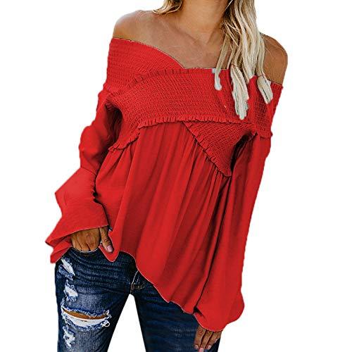 Frauen-Einfarbig-Langarm-Sexy-V-Ausschnitt-Ein-Schulter-Shirt-Wrinkled-T-Shirt-Lose-Top-YunYoud-langarmshirt-wickeloberteil