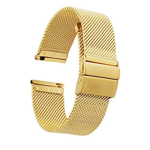 ZHUGE-Edelstahl-Mesh-Uhrenarmband-Neuer-Stil-Doppel-Druckknopf-Schnalle-Uhrenarmbnder-Mailnder-Uhrenband-fr-Herren-Damen-18mm-20mm-22mm