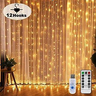 Nurkoo-Lichtervorhang-3×3-M-300-LEDs-Mit-12-Haken-Lichtvorhang-USB-8-Modi-Lichterkette-Wasserfall-IP65-Wasserdicht-Lichterkette-Aussen-fr-Die-Dekoration-Fenster-Party-Wand-Hochzeit-Weihnachten