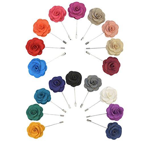Soleebee YM008 Ansteckblumen Gemischt zufällig Herren Handgefertigt Revers Pin Blume Set im Knopfloch Schläger Revers Krawatte Brosche Kamelie Boutonniere für Anzug